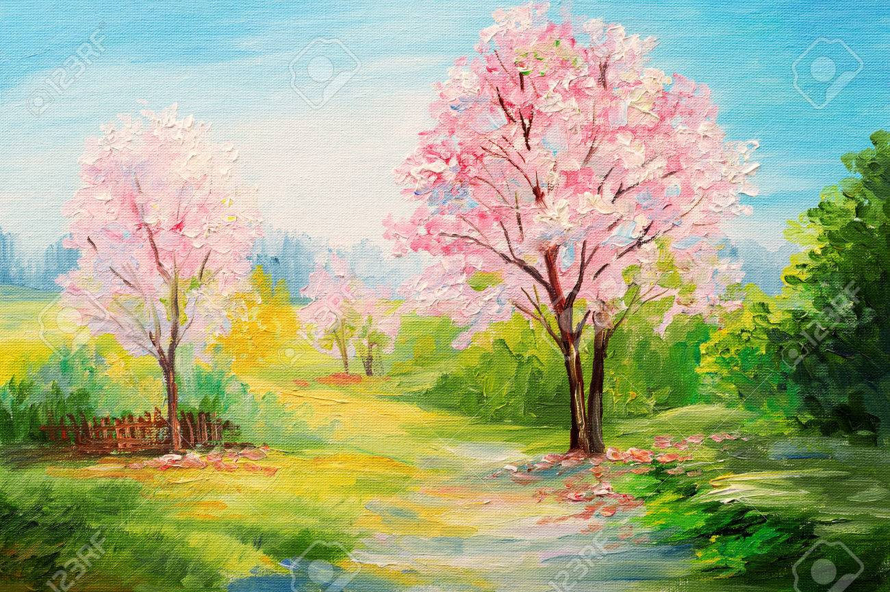 Oil Painting, Colorful Forest, ?herry Blossoms, Art Watercolour ...