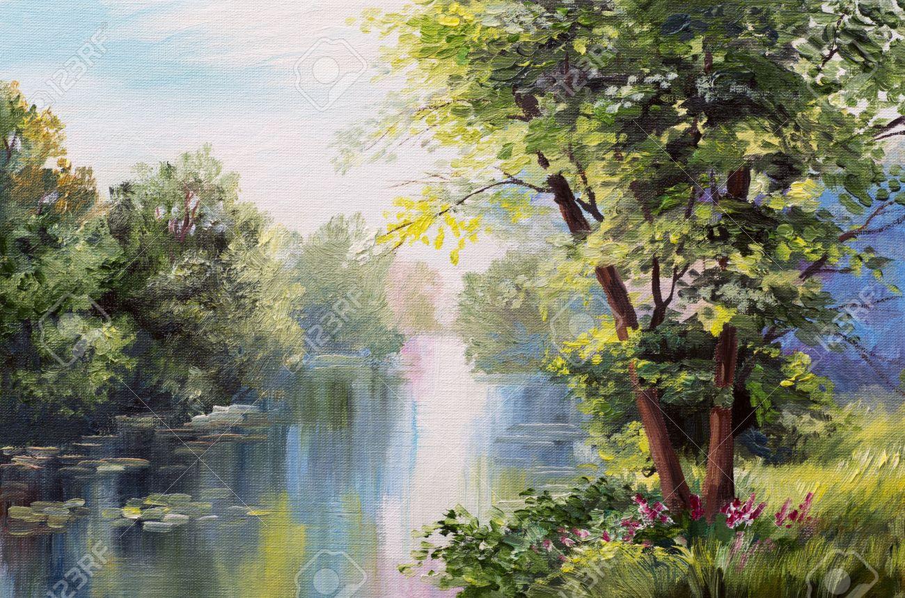 Peinture à L'huile Paysage - Lac Dans La
