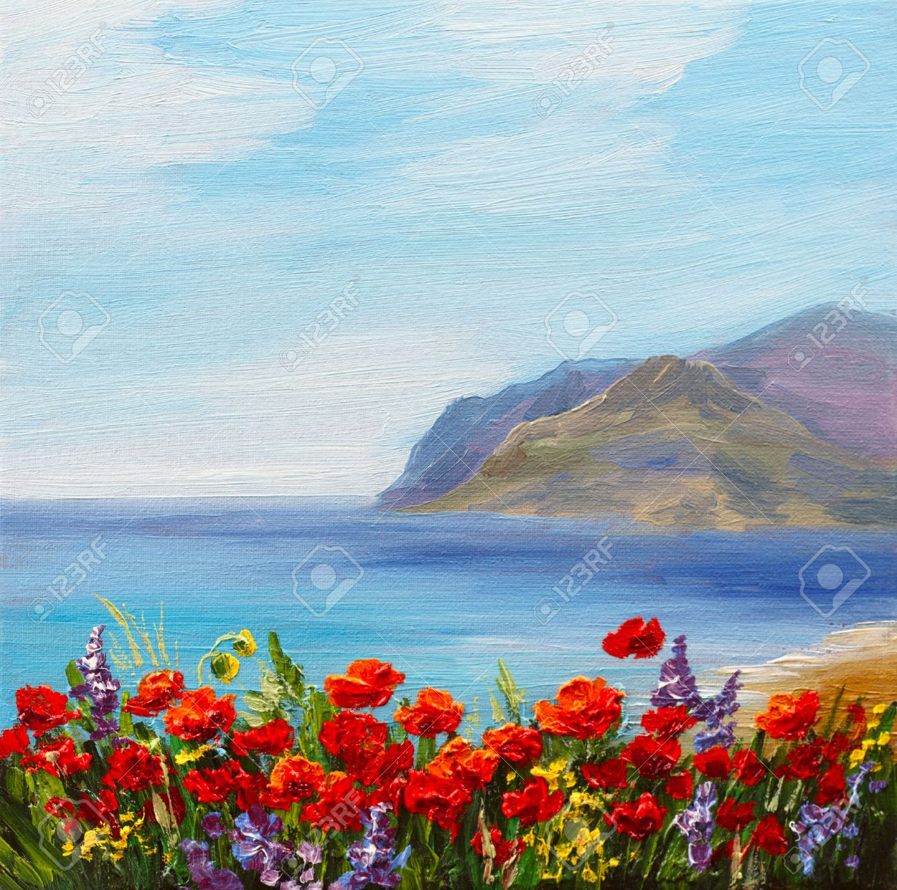 poppy field near the sea, colorful coast, art oil painting - 59803737