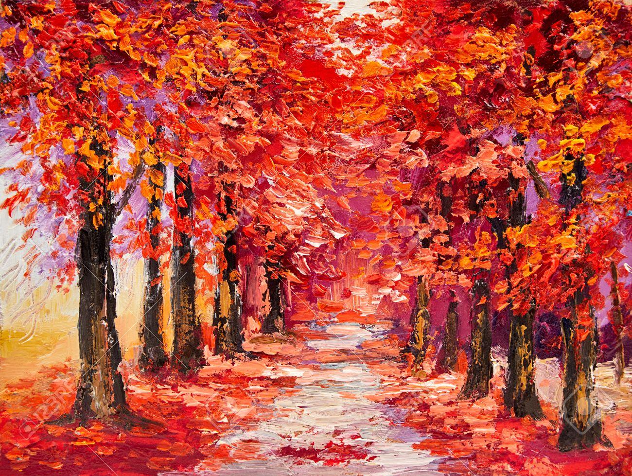 Lgemalde Bunte Baume Im Herbst Impressionismus Kunst Lizenzfreie Fotos Bilder Und Stock Fotografie Image 65141800
