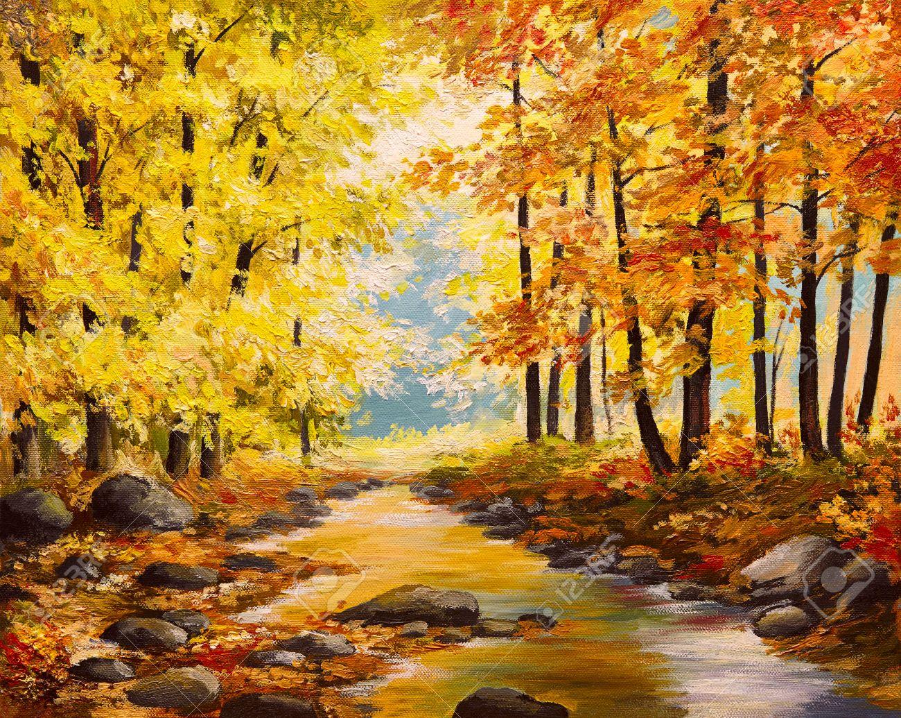 Pintura Al óleo árboles De Otoño De Colores Arte Del Impresionismo