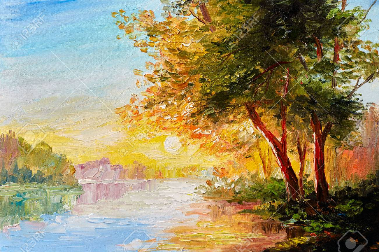 Oil painting landscape, river in the spring forest with sunset, afternoon - 66038343