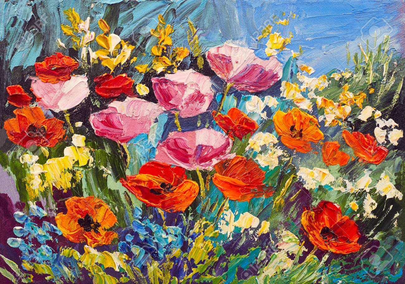 Oil painting of spring flowers on canvas art work stock photo oil painting of spring flowers on canvas art work stock photo 74425400 mightylinksfo