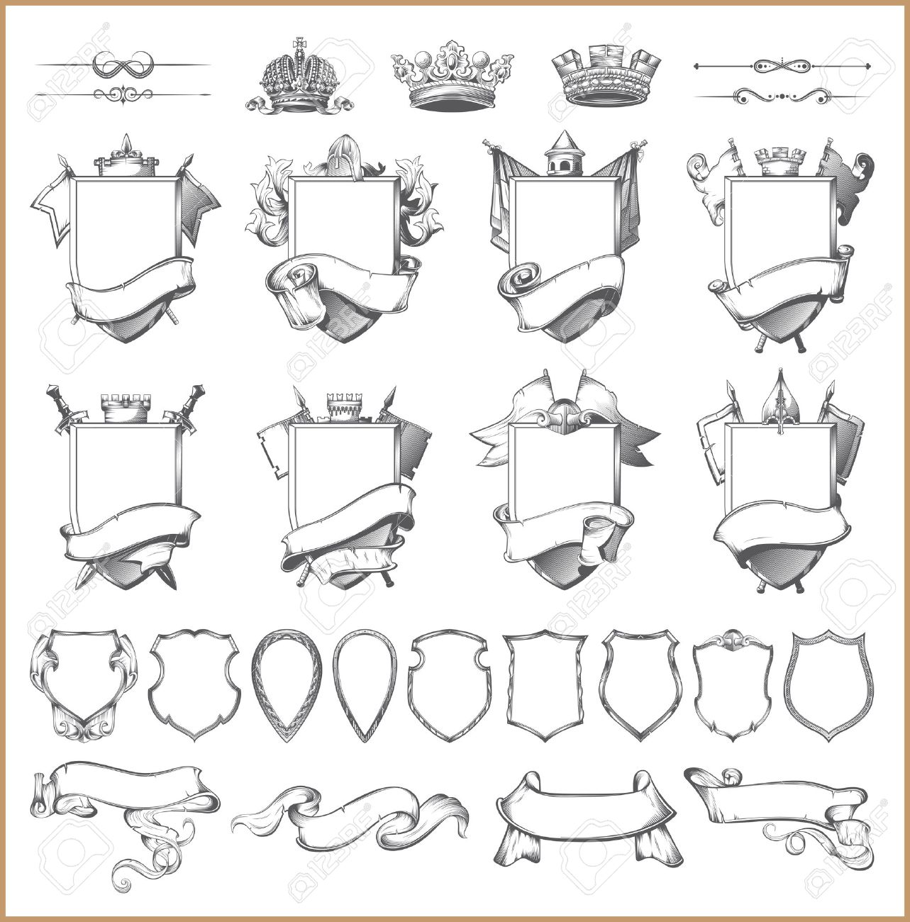 heraldic element collection and Coat of arms template - 47273679