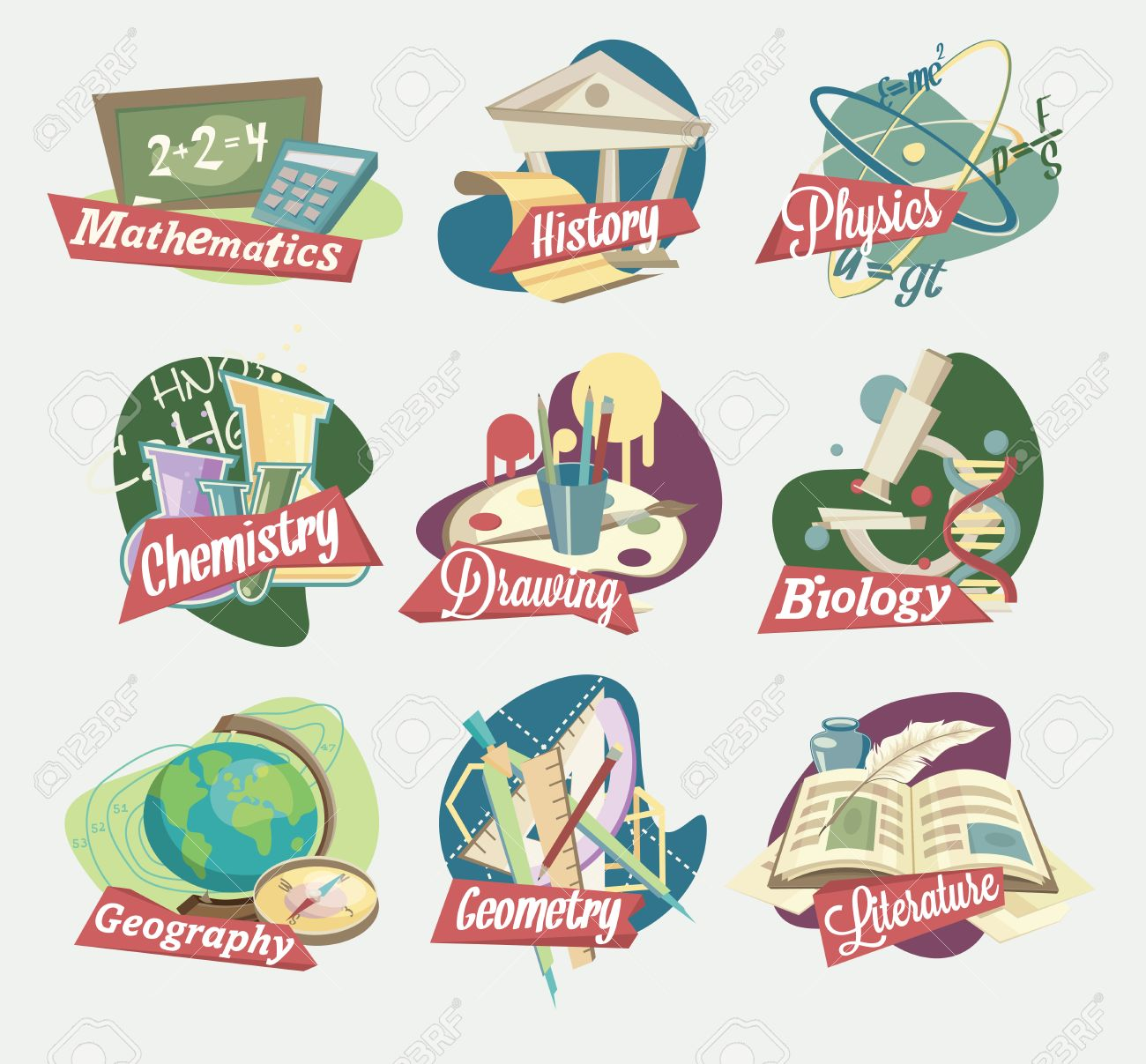 emblems of school subjects royalty free cliparts vectors and stock
