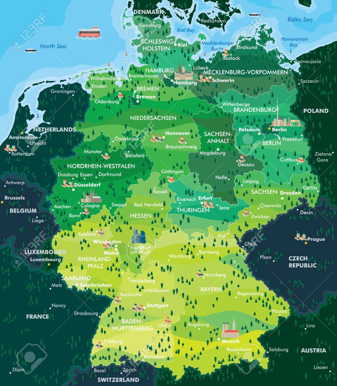 map germany stock vector 47274760