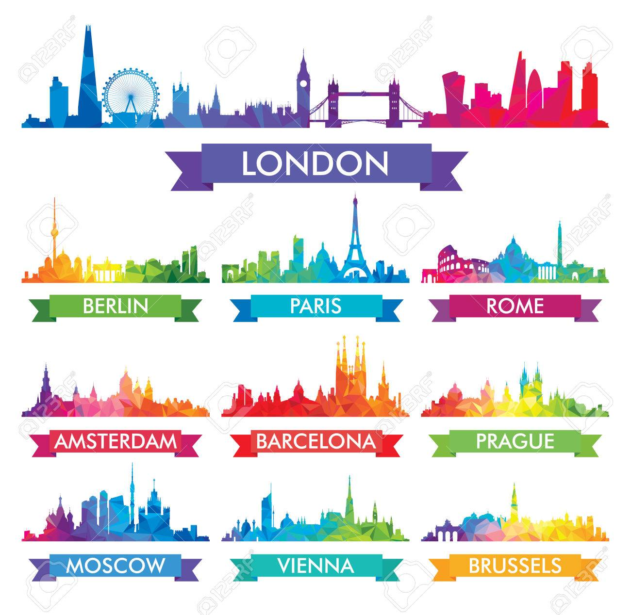 City skyline of Europe Colorful vector illustration - 70605386
