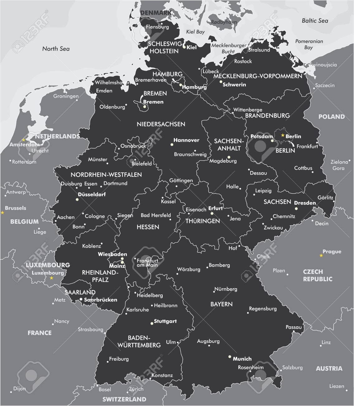 landkarte deutschland schwarz weiß Schwarz Weiß Karte Von Deutschland Lizenzfrei Nutzbare