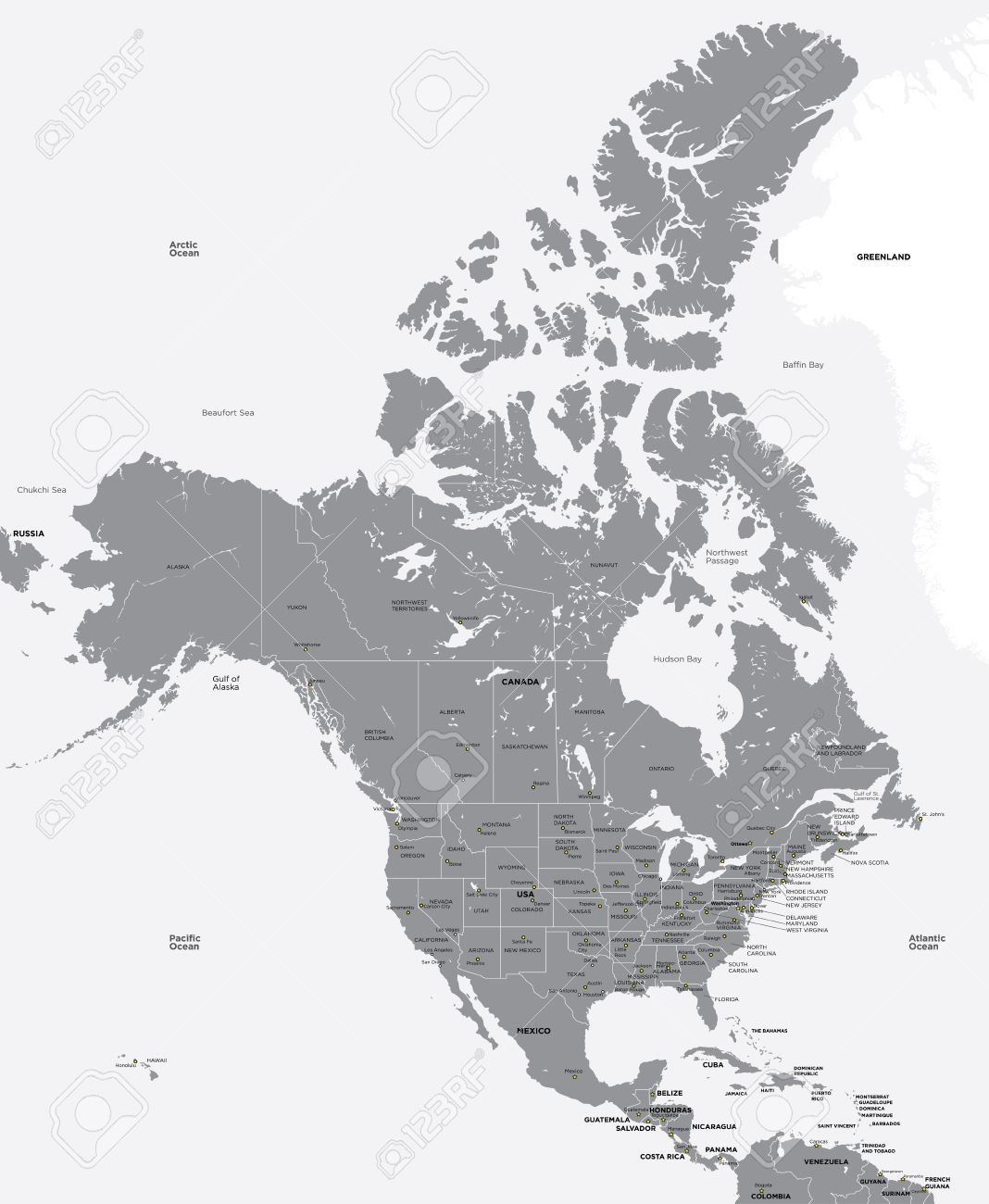 Black And White Map Of The USA And Canada Royalty Free Cliparts - Us and canada map vector