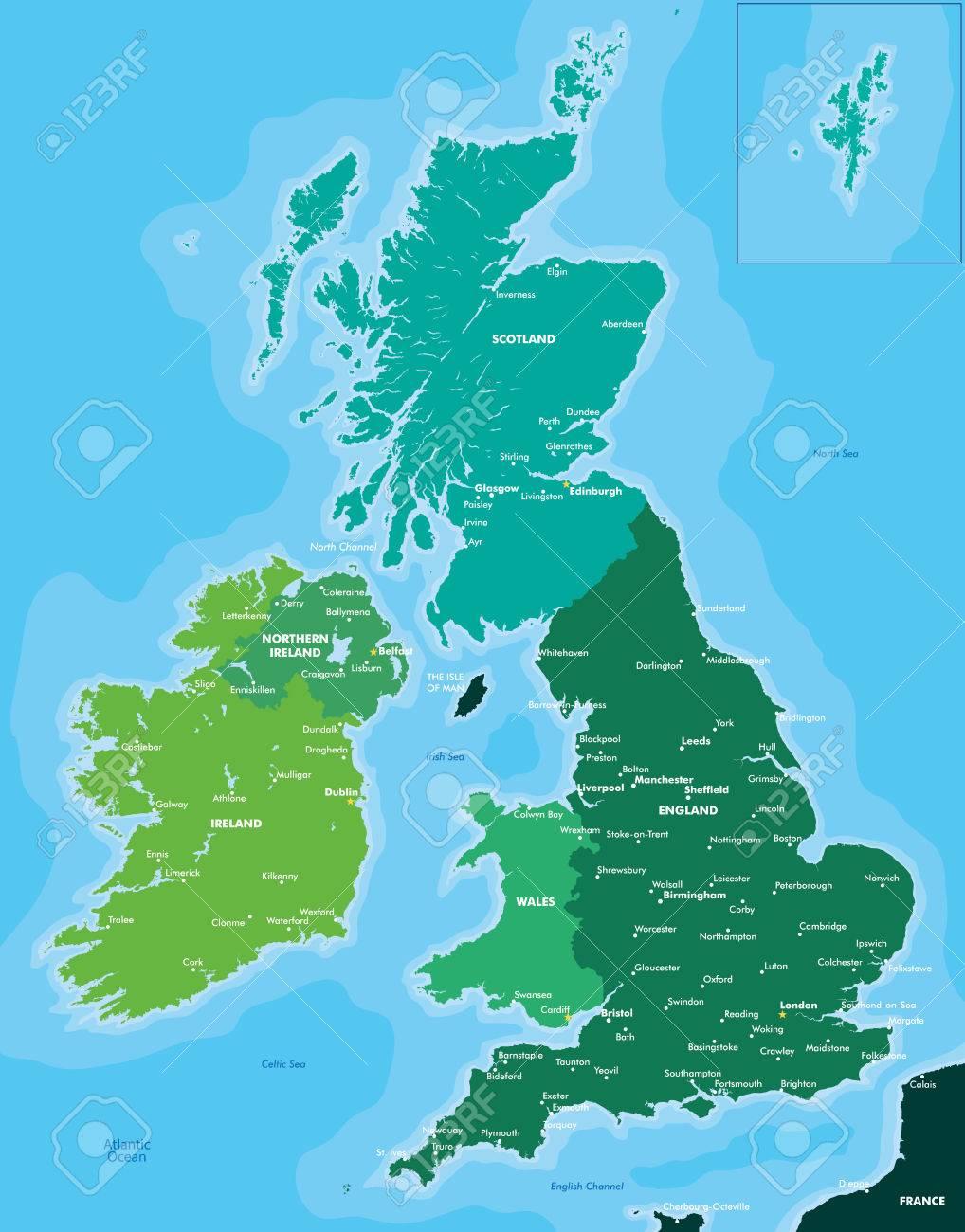 karte gb und irland Farbe Karte Von Großbritannien Und Irland Lizenzfrei Nutzbare