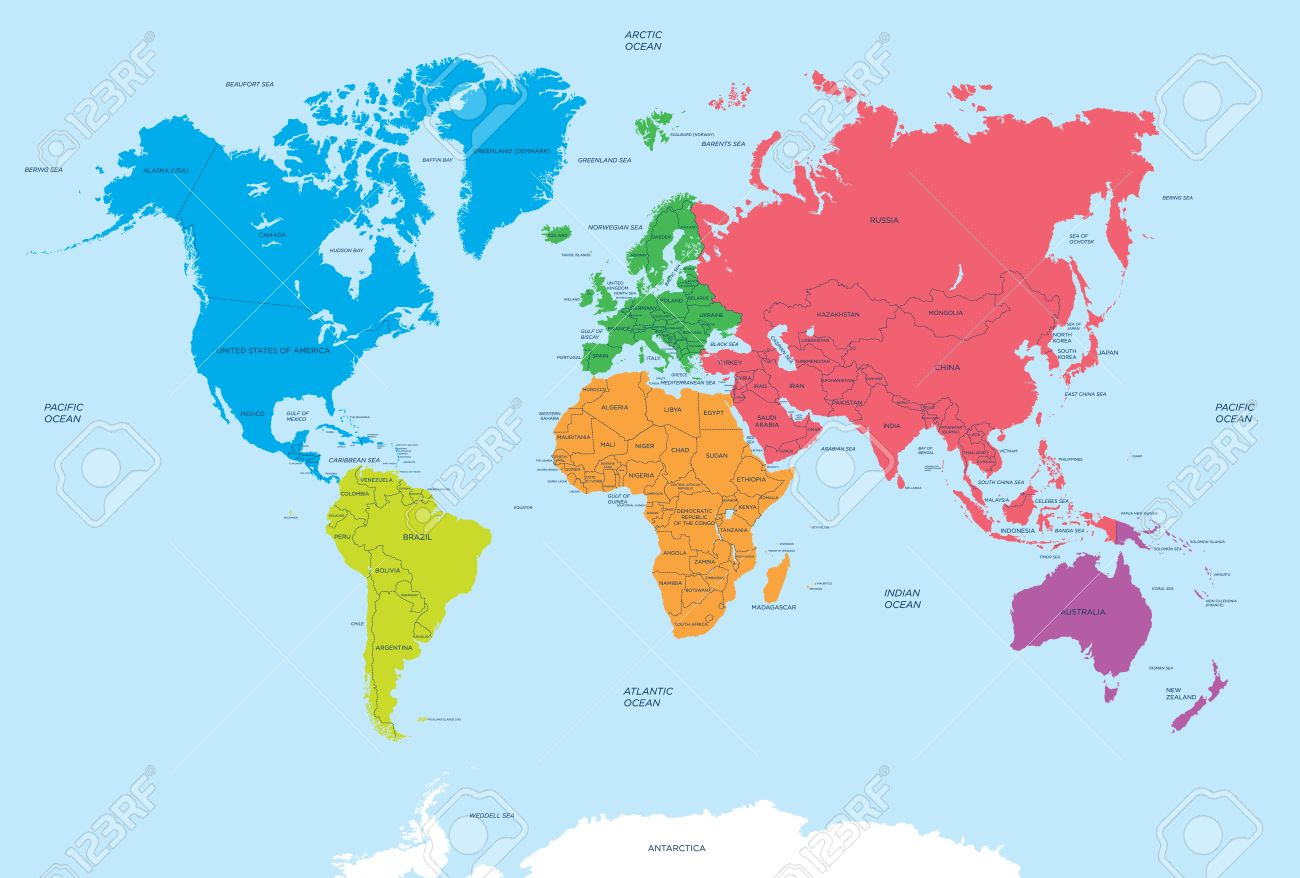 Continents Of The World And Political Map Royalty Free Cliparts