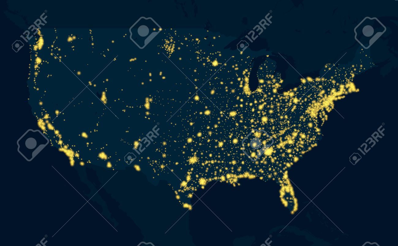 Night Map United States Of America Royalty Free Cliparts Vectors