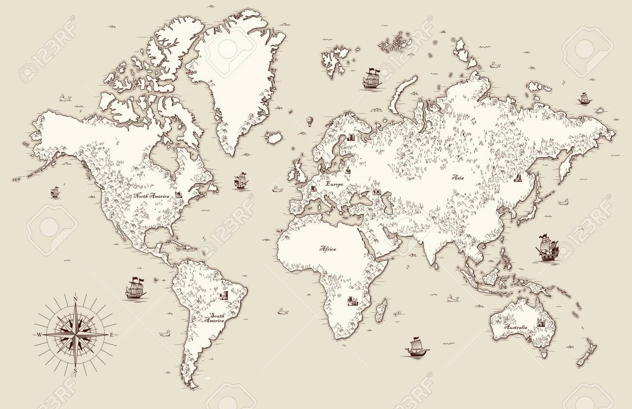 High Detailed, Old World Map With Decorative Elements Royalty Free