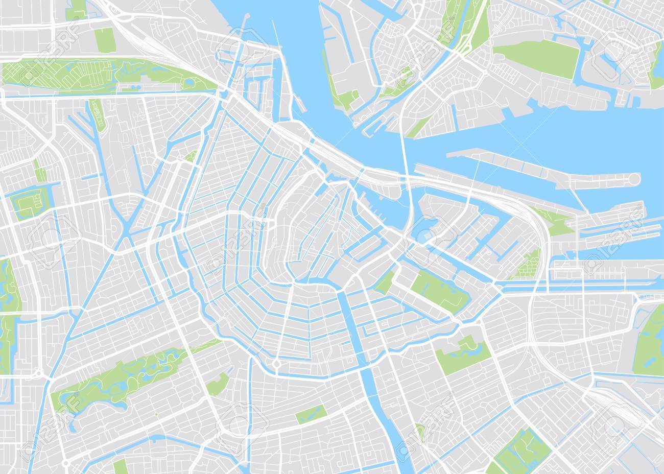 Amsterdam colored vector map - 70620527