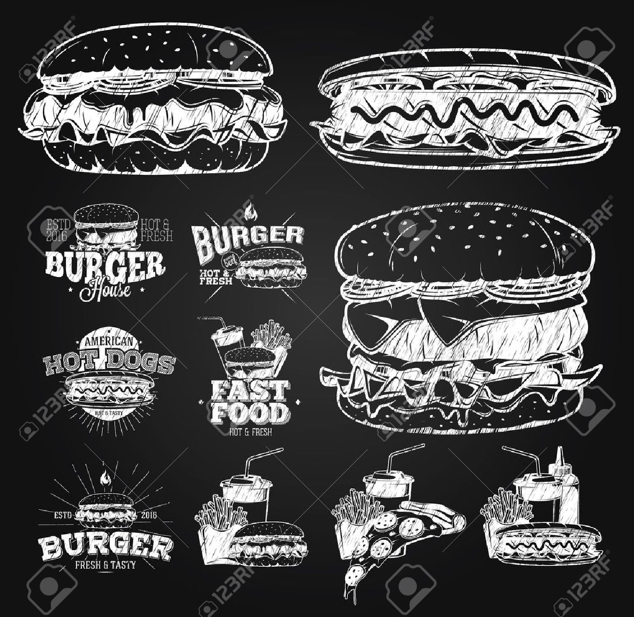 Fast Food Label, Logos and design elements chalk drawing - 70082141