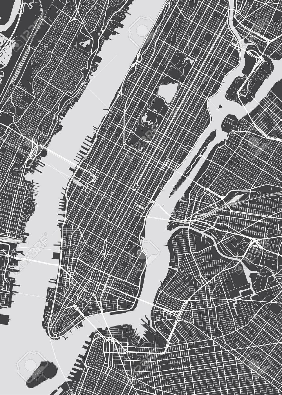 Vector Detailed Map New York Royalty Free Cliparts Vectors And
