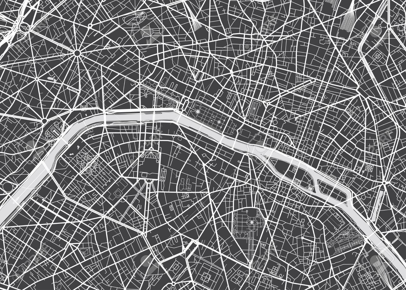 Vector detailed map Paris - 70130401