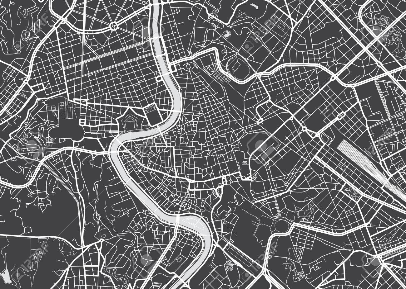 Vector Detailed Map Rome Royalty Free Cliparts, Vectors, And Stock on