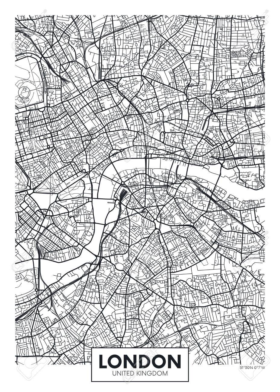 Vector poster map city London - 75942922