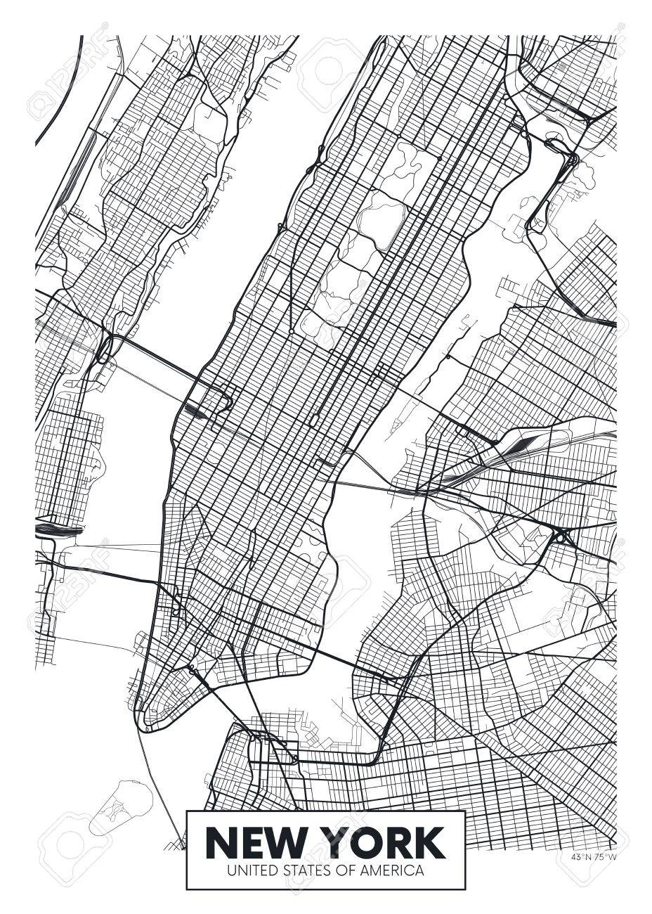 Map Of New York Poster.Vector Poster Map City New York