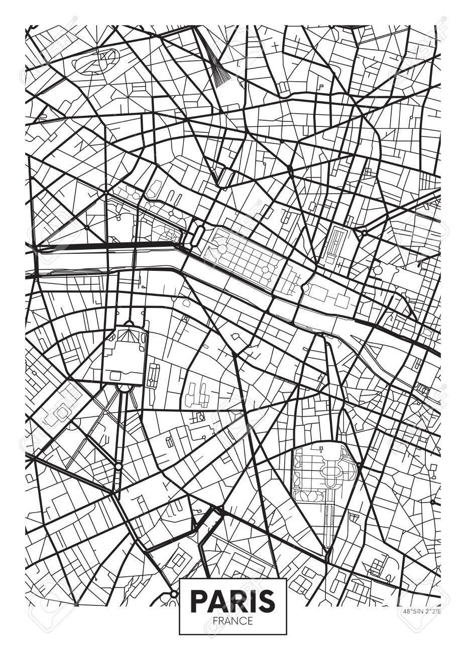 vector vector poster map city paris