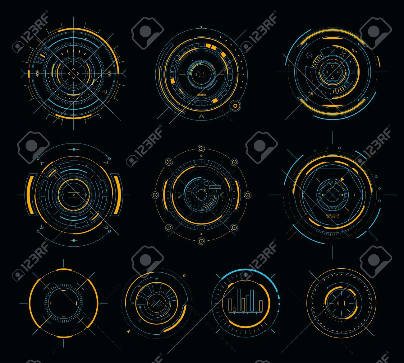 Vector sci-fi display circular elements, HUD futuristic user interface - 75942869