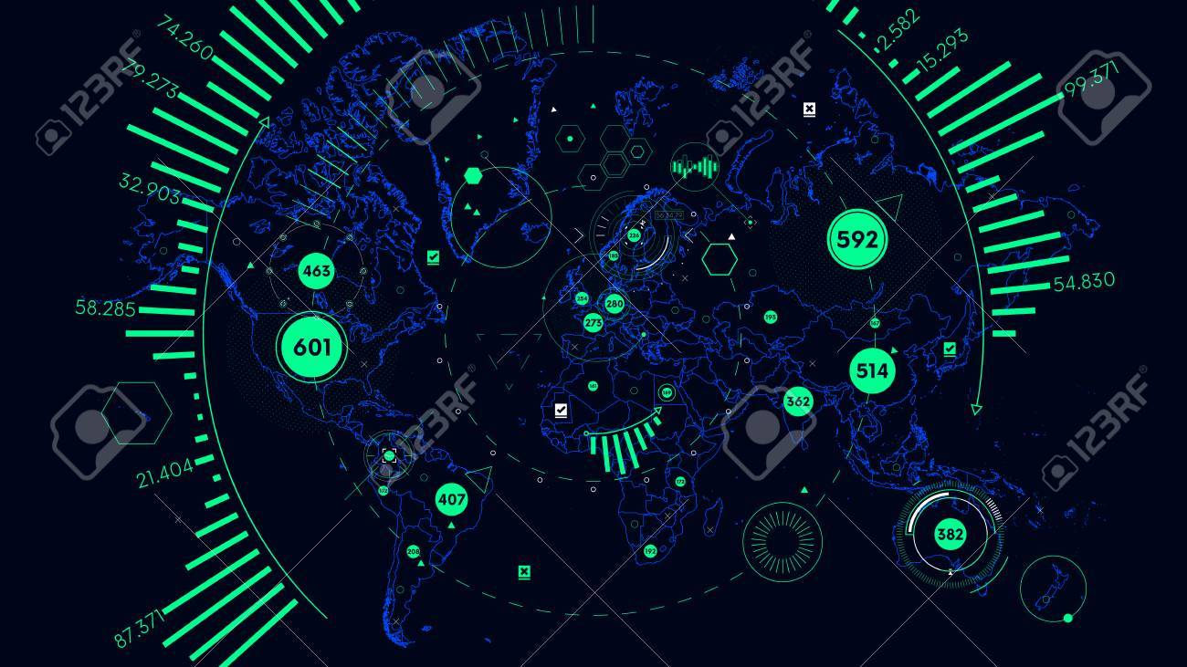 HUD Futuristic Interface Data Visualization, Vector World Map ... on