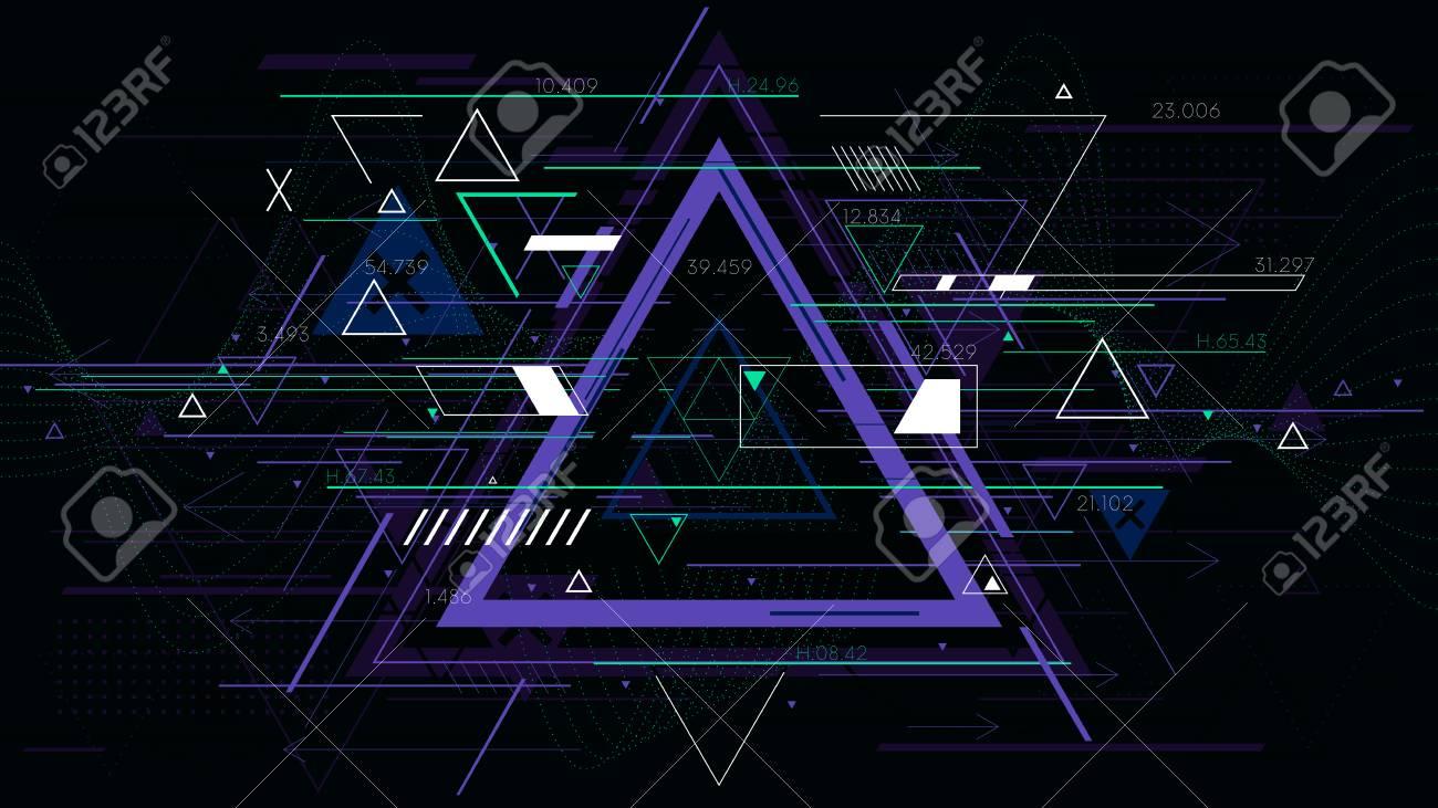Tech futuristic abstract triangle geometric backgrounds, sci-fi vector illustration - 84518528