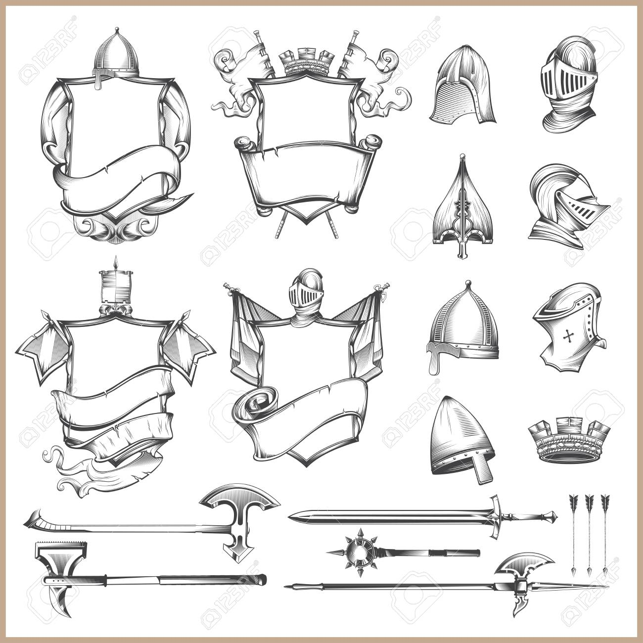 Collection of vector heraldic elements, helmets and medieval weapons - 95631636