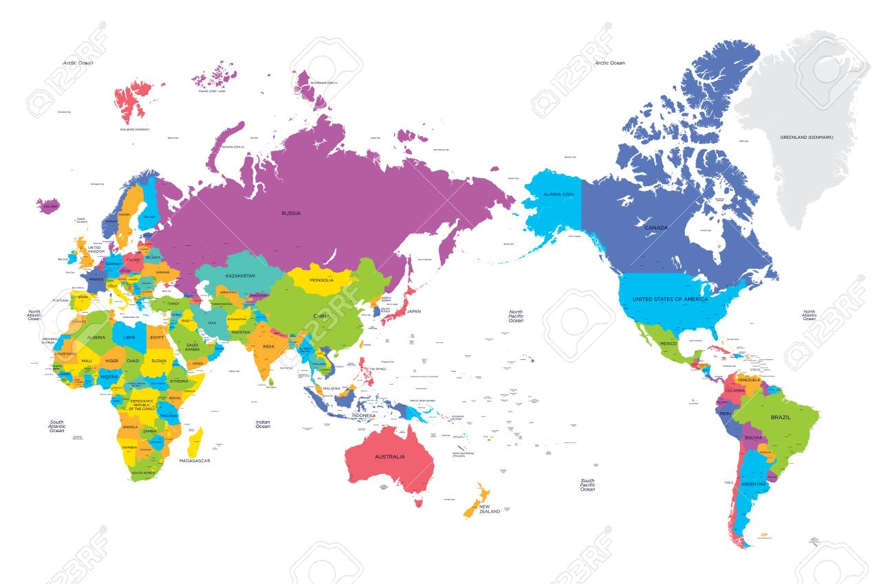 Map Of The World In Detail.Colorful Political Map Of The World With Large Cities High Detail