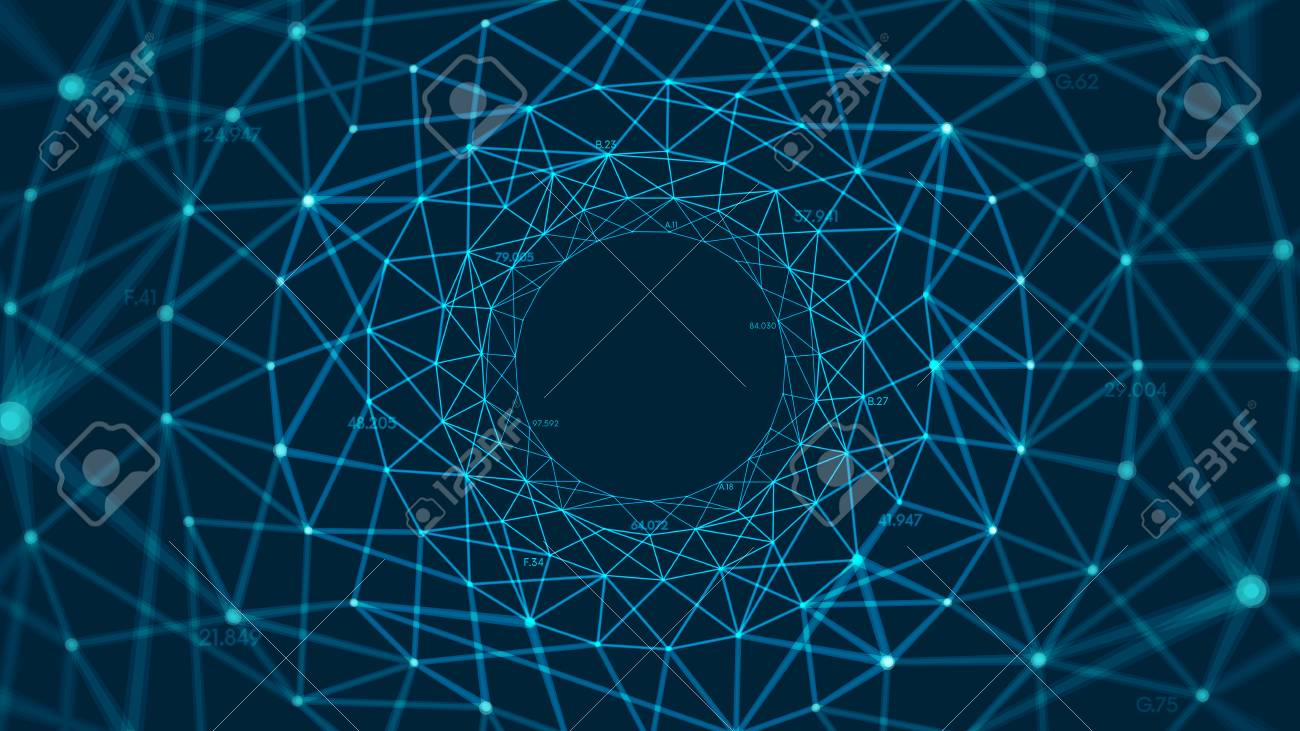 Abstract vector polygonal background with connected lines and dots forming a circle - 114026245