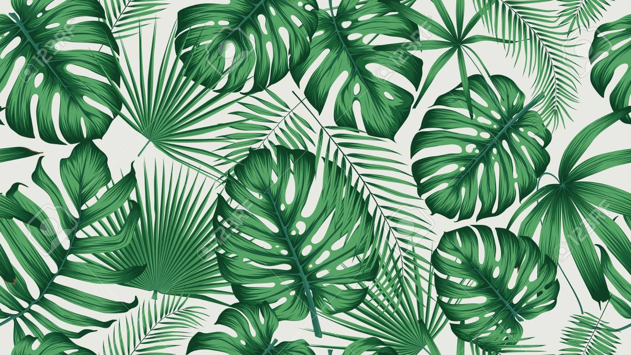 Trendy seamless tropical pattern with exotic leaves and plants jungle - 114027337