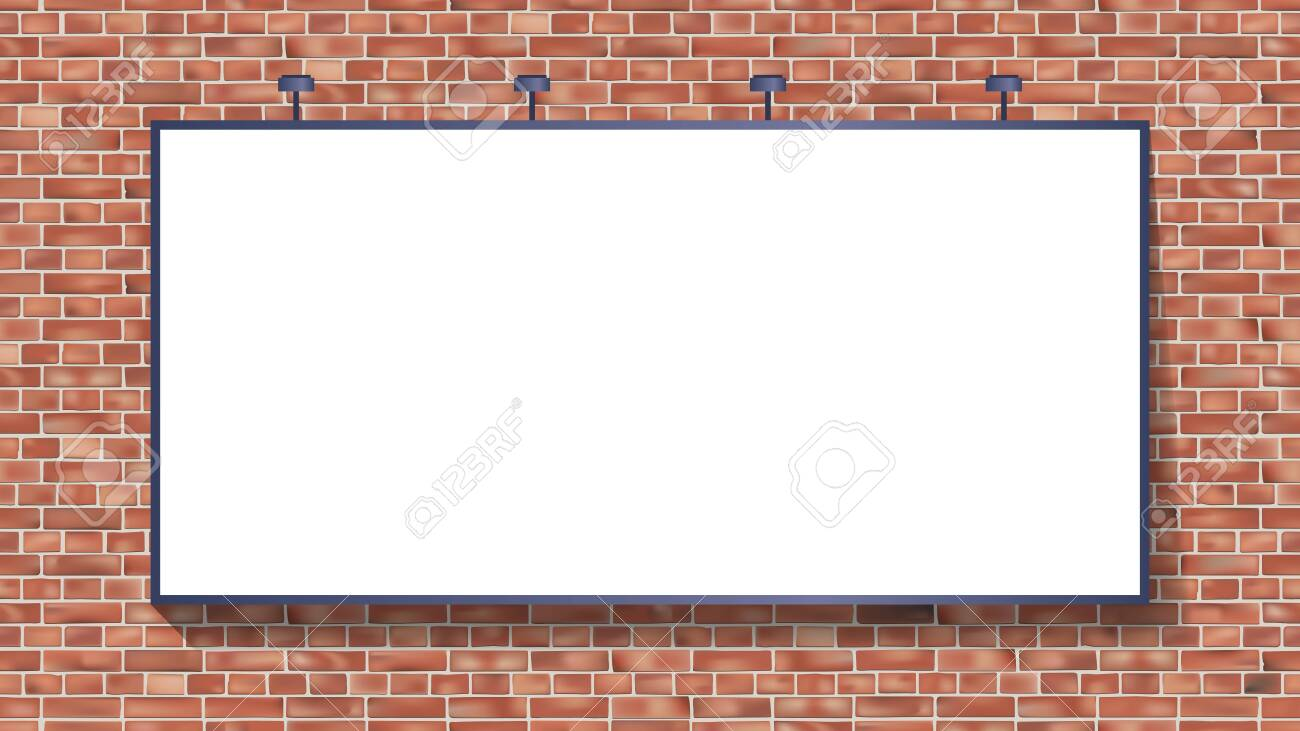 White billboard mockup on brick wall vector illustration use for your advertising or product - 123721441