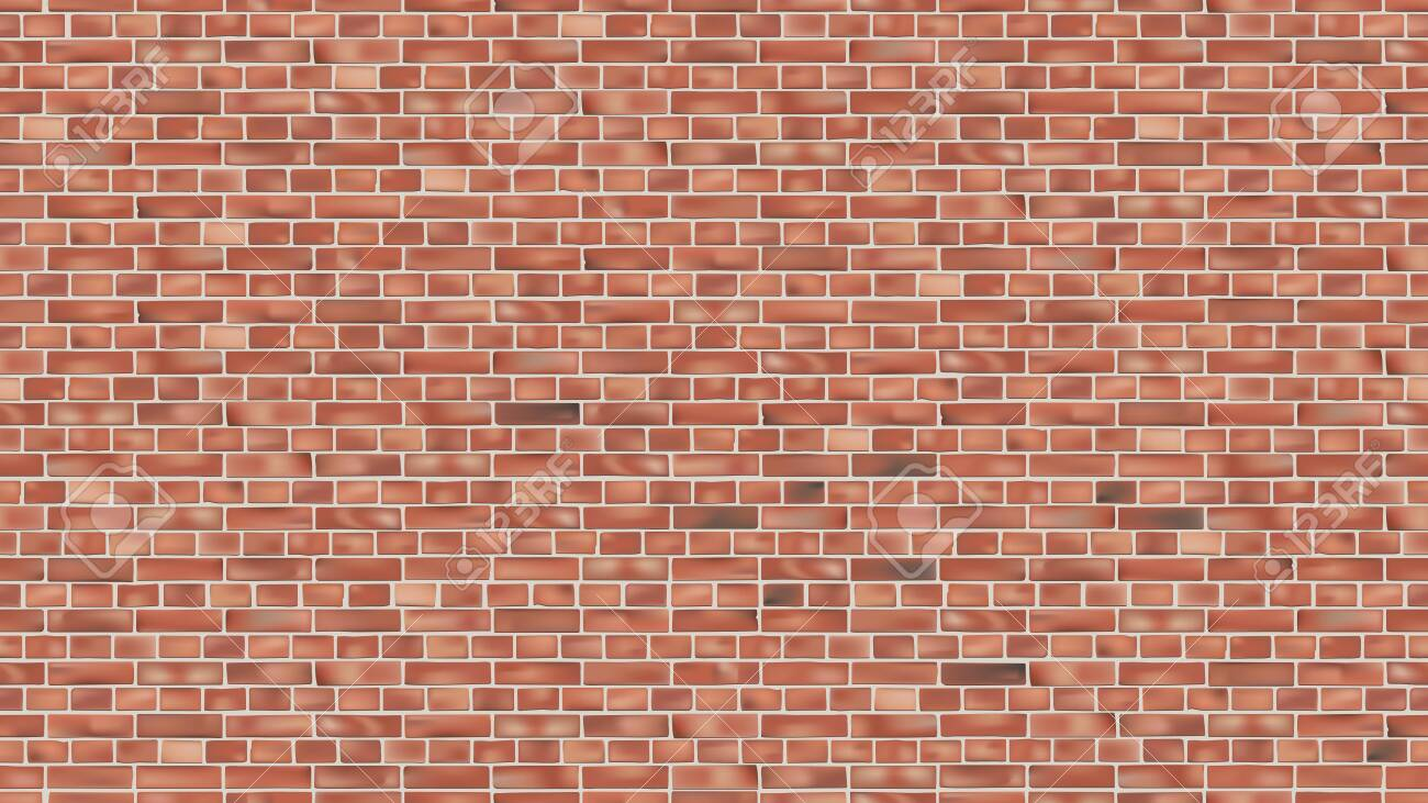 Background of red brick wall seamless vector pattern backdrop for design - 123721444