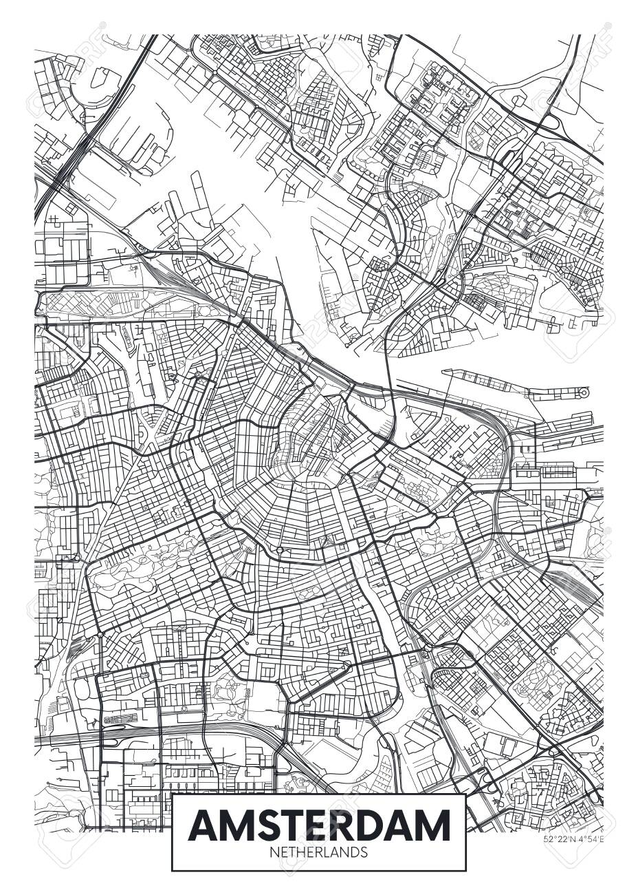 City map Amsterdam, travel vector poster design detailed plan of the city, rivers and streets - 123721454