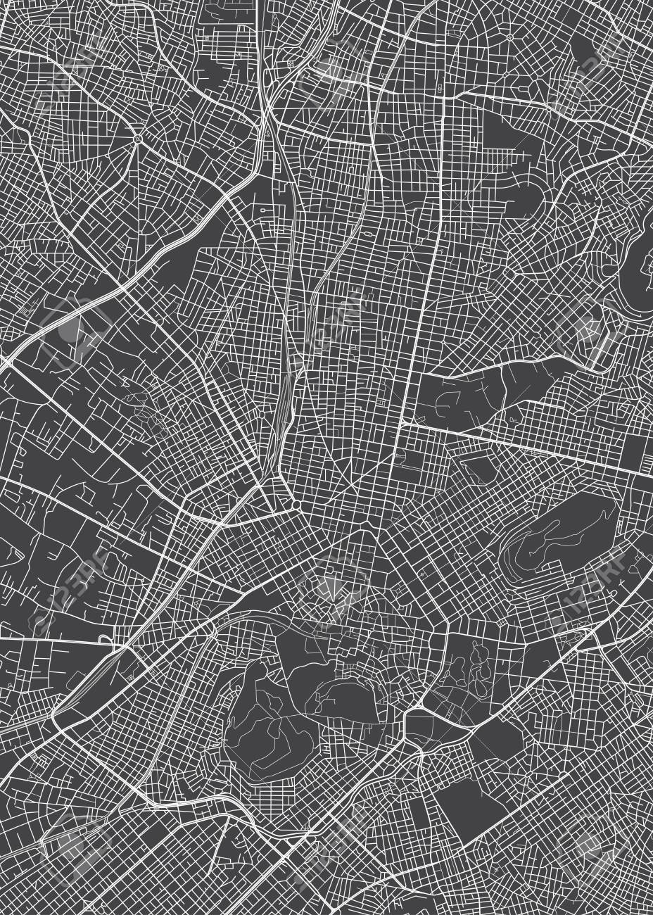 Athens city plan, detailed vector map detailed plan of the city, rivers and streets - 123721458