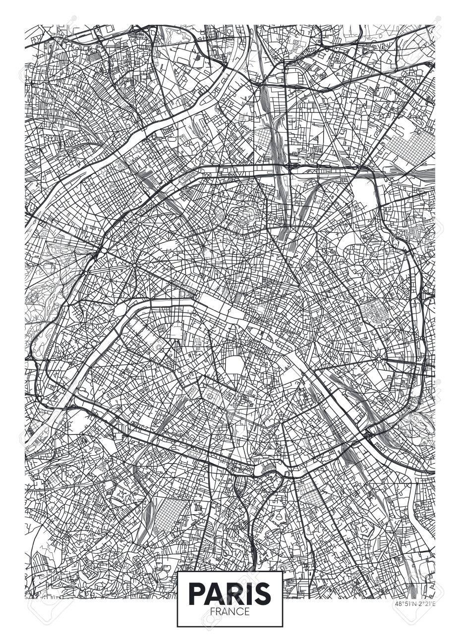 City map Paris, travel vector poster design - 123947935