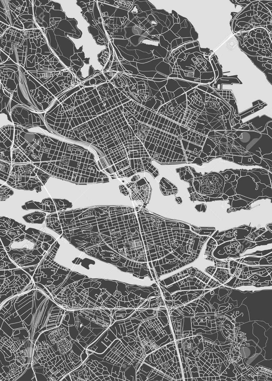 City map Stockholm, monochrome detailed plan, vector illustration for your design - 123721494