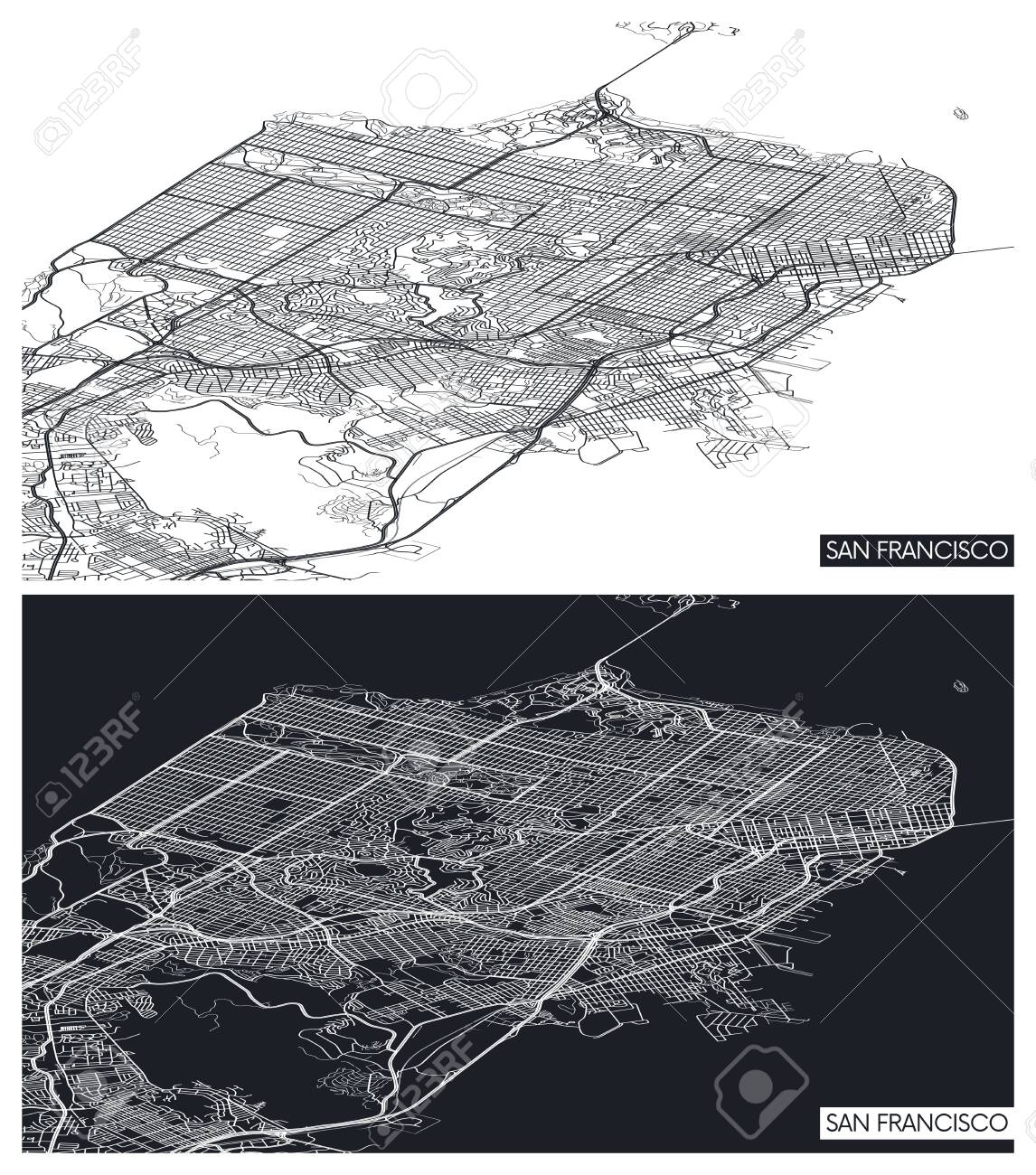 Aerial top view city map San Francisco, black and white detailed plan, urban grid in perspective, vector illustration - 132992762