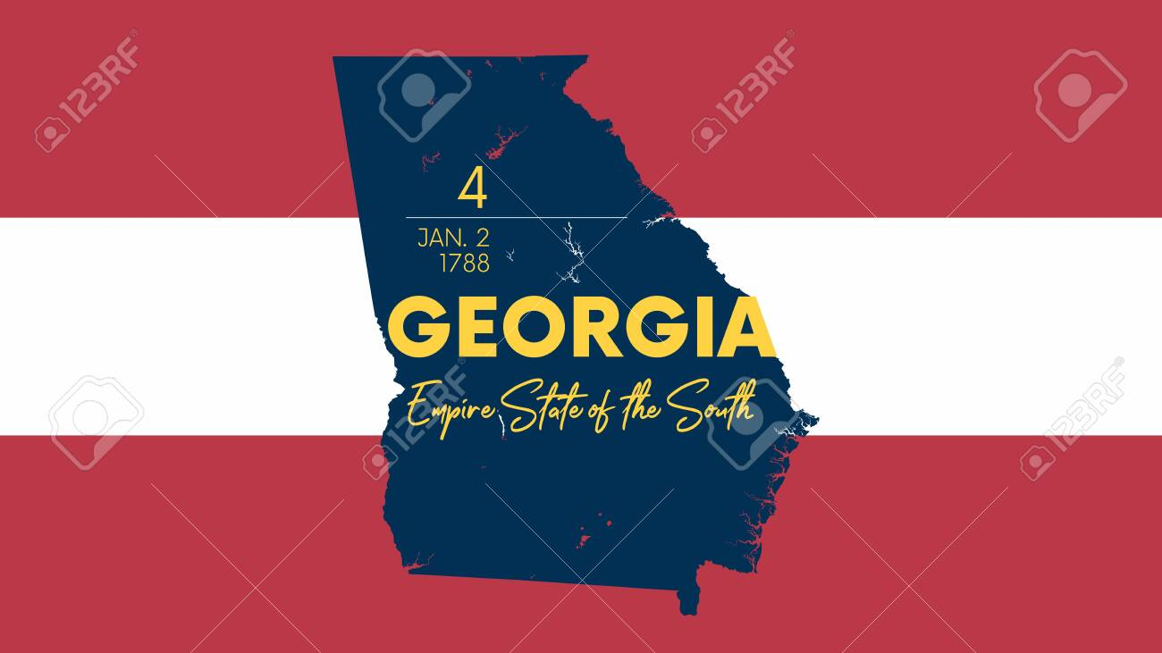 4 of 50 states of the United States with a name, nickname, and date admitted to the Union, Detailed Vector Georgia Map for printing posters, postcards and t-shirts - 136235772