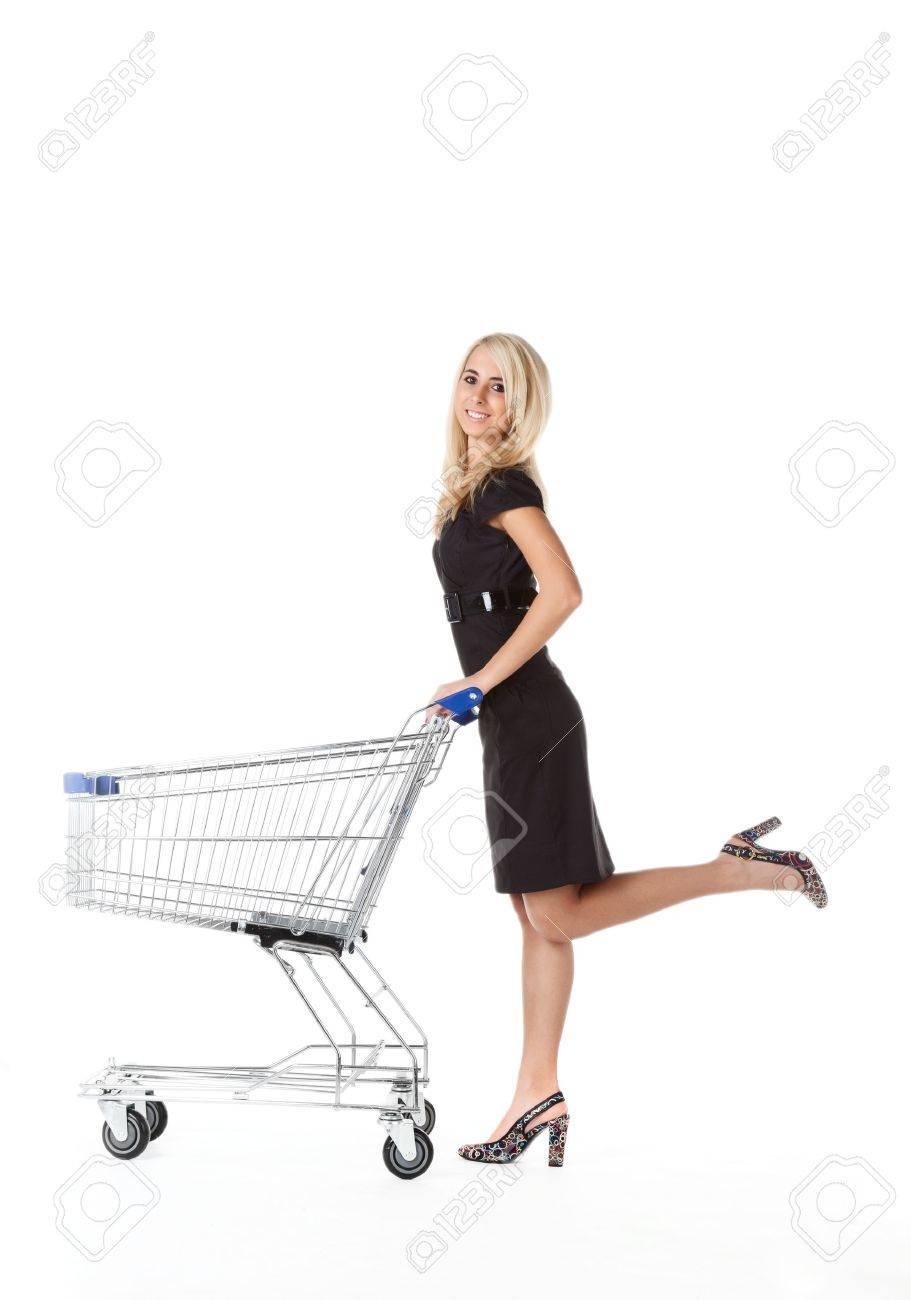 beautiful woman  with  cart Stock Photo - 8430991