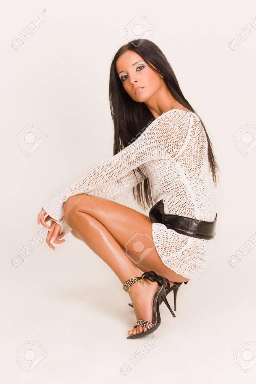 Beautiful girl in fashion dress with belt Stock Photo - 3775311