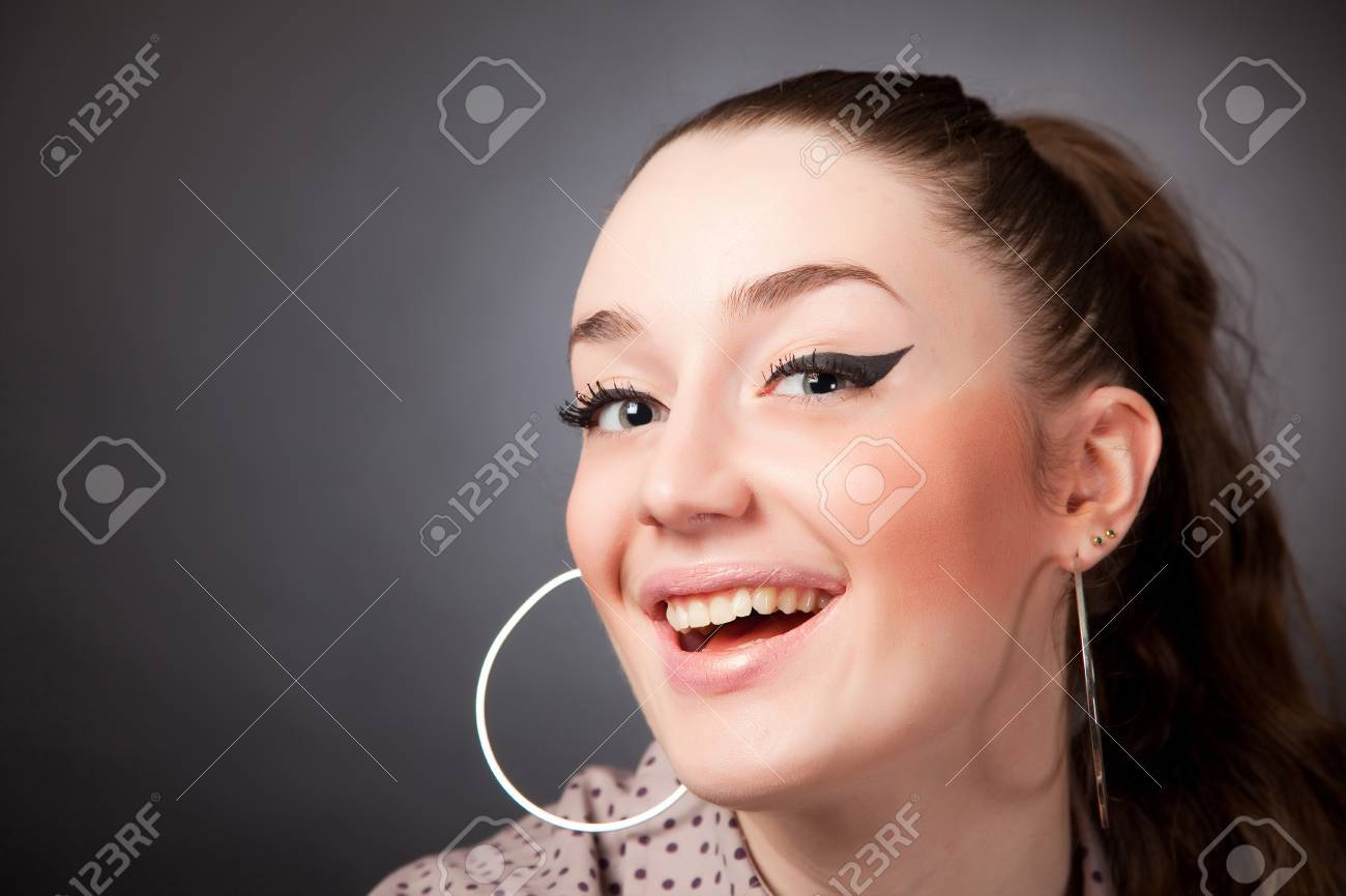 Laughing girl, portrait studio isolated shot Stock Photo - 9060432