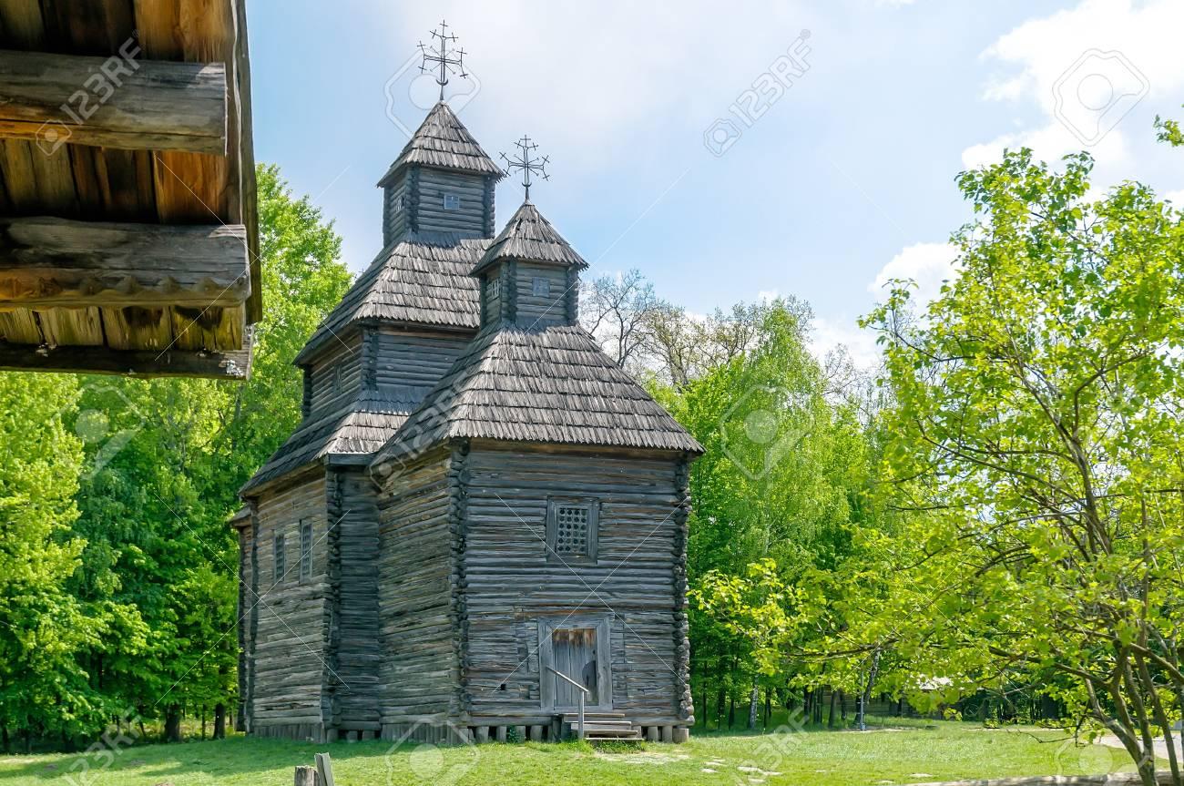 A typical ukrainian antique orthodox church in Pirogovo near Kiev Stock Photo - 18190465