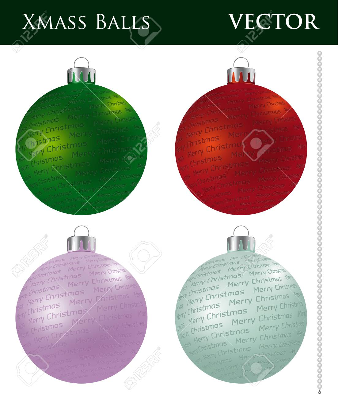 A Set Of Christmas Balls With Different Ornaments And Different