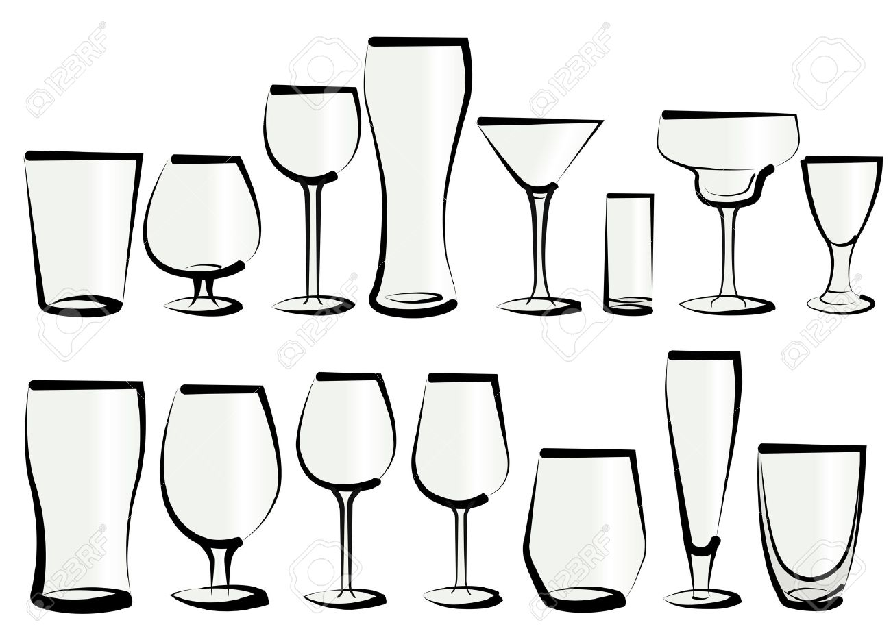 vector illustration set of glasses as you can find in a bar  - vector illustration set of glasses as you can find in a bar or a restaurant