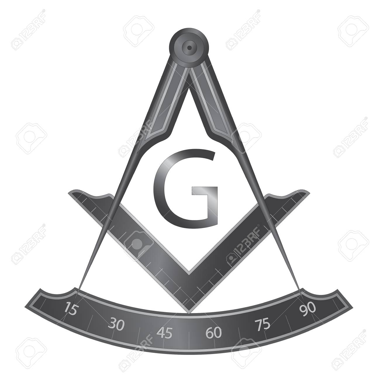Black iron masonic square and compass symbol, with G letter