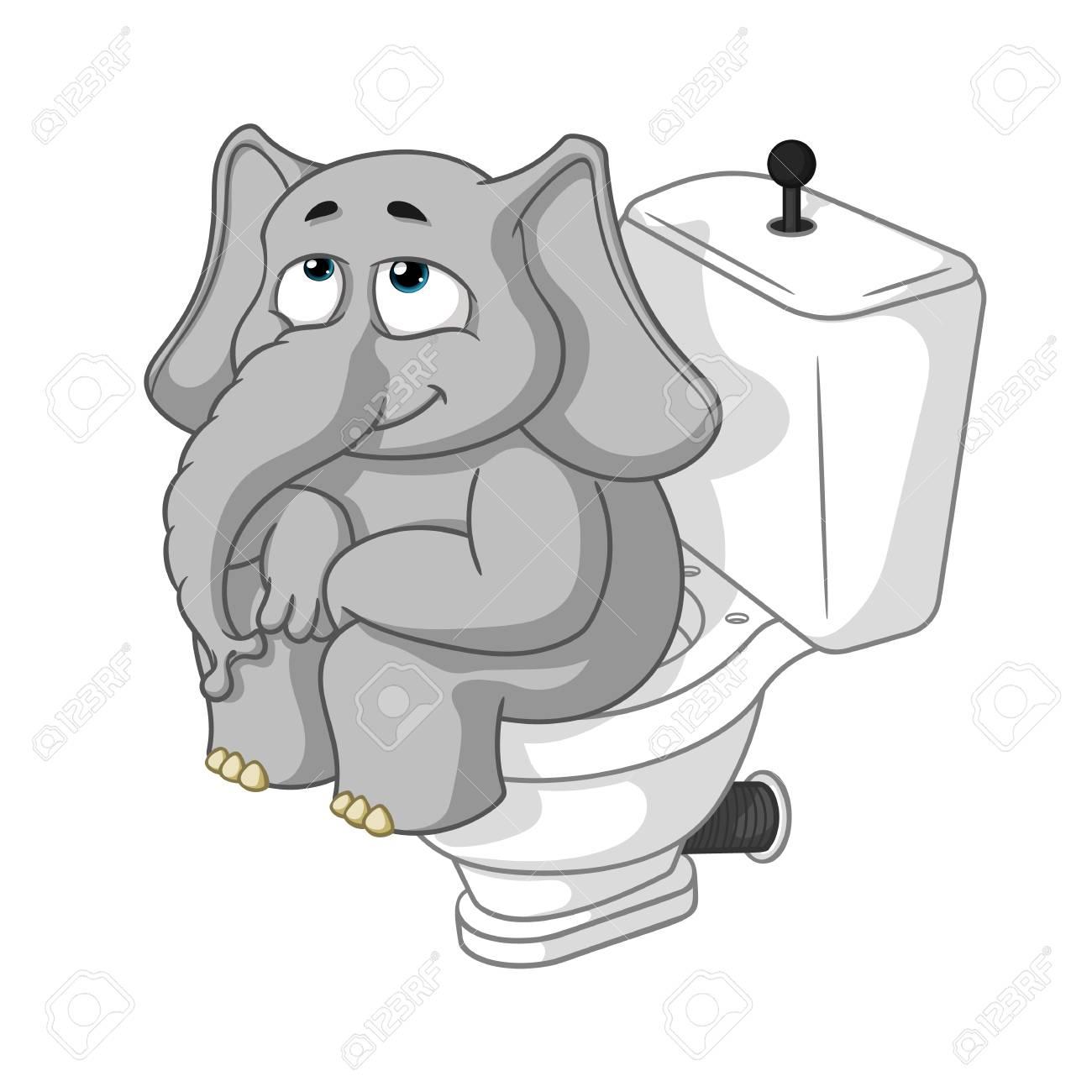 Elefant Charakter Auf Der Toilette Sitzen Große Sammlung Von