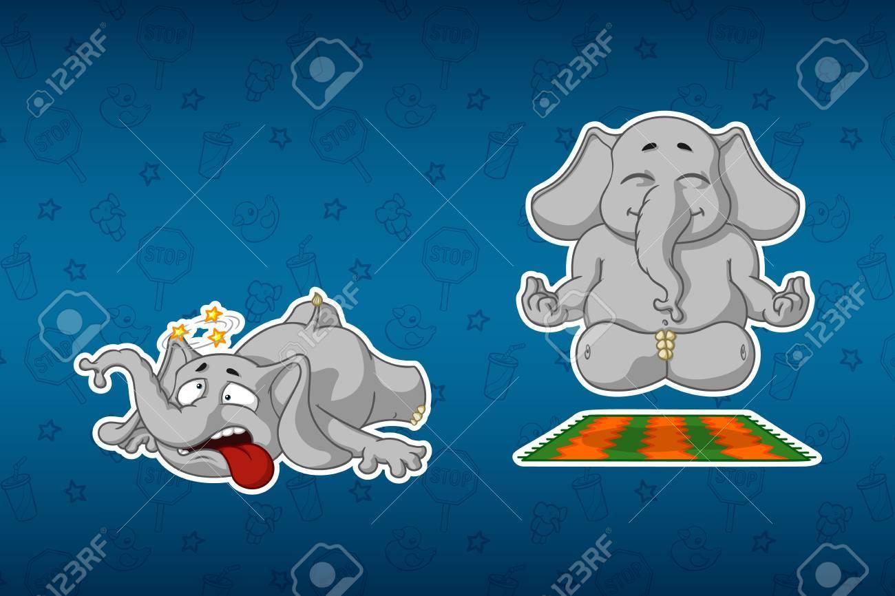 Vettoriale elefanti adesivi fa yoga inciampò e cadde grande
