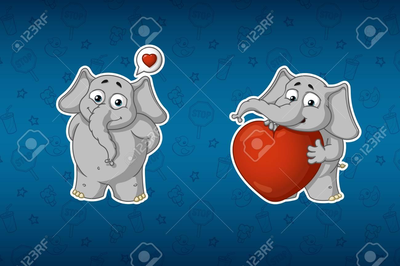 Vettoriale adesivi elefanti È innamorato ha un grande cuore